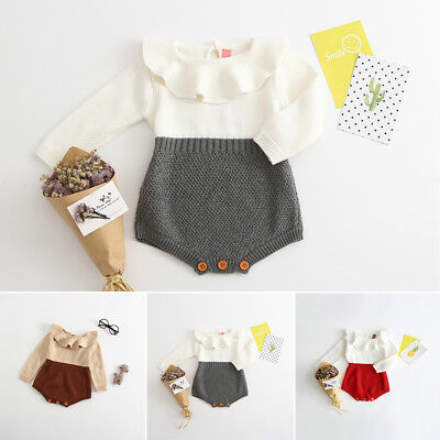 Infant Newborn Baby Boy Girl Knit Jumpsuit Romper Bodysuit Cotton Clothes Outfit ()