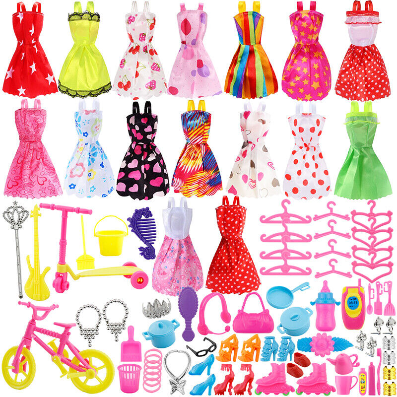 """120PCS Dress Skirt Shoes Bags Necklace Tableware Accessory for 12"""" Doll"""