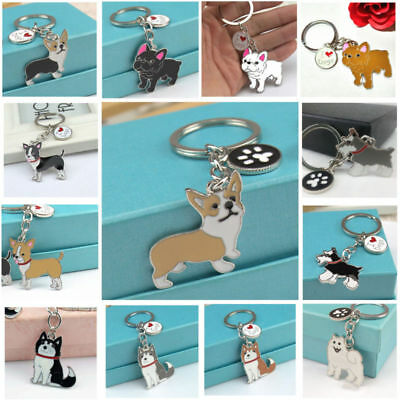 Cute Animal Pet Dogs Key Chain Corgi Husky Poodle Bulldog Pendant Metal (Bulldog Keychain)
