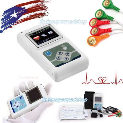 New 2018 Dynamic 24h Holter Ecg System 3-channel Ecg Recorder Sync Pc Software