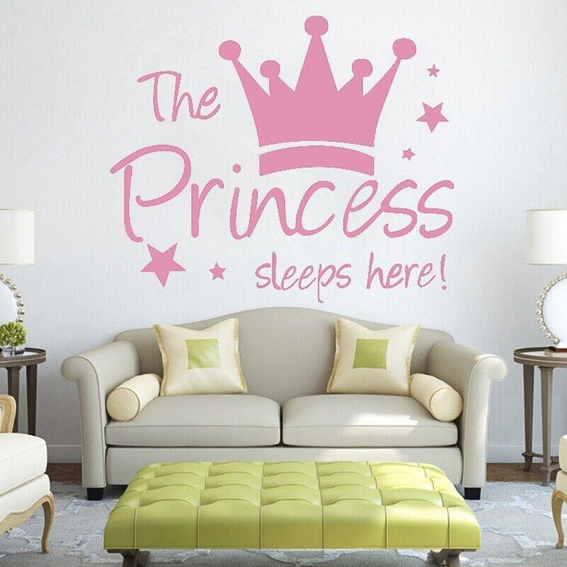 Details About Pink Princess Crown Wall Sticker Decal Mural Diy Nursery Decor Baby Girl Lark090