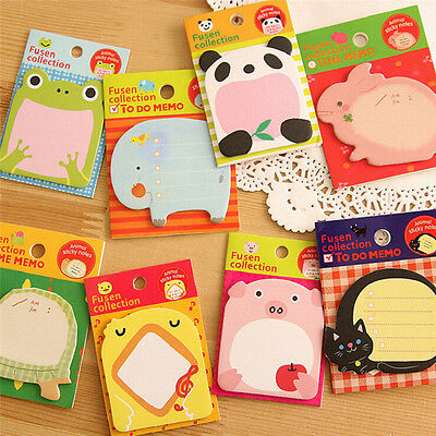 8pcs Animal Cat Panda Cute Kawaii Sticky Notes Memo Pad School Supplies S2