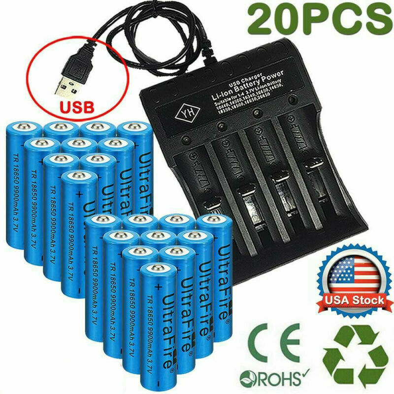 20x powered 18650 batteries 3 7v li