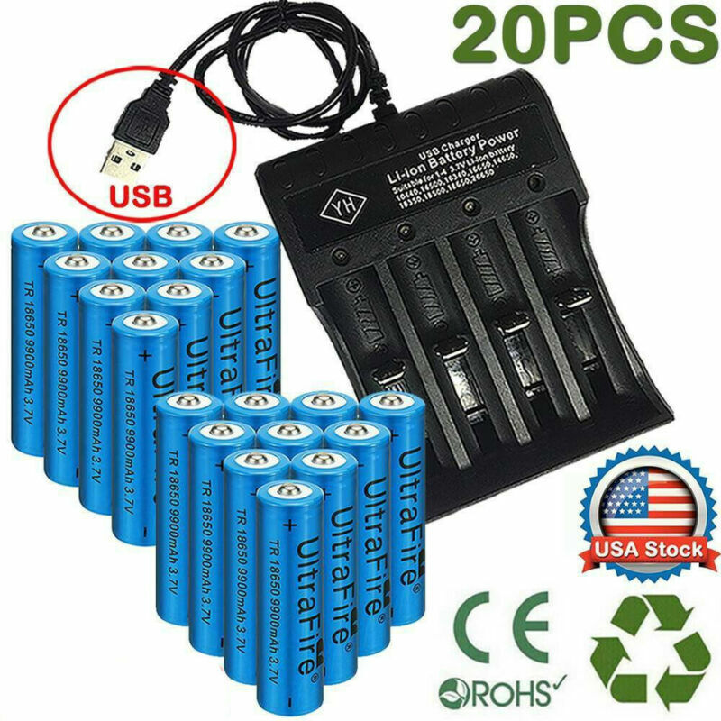 20X UltraFire Powered 18650 Batteries 3.7V Li-ion Rechargeab