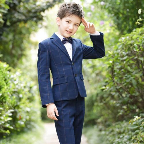 Kid 4 Pcs Suits Blazer Jacket Tux Vest Waistcoat Trousers Wedding Prom Page boy