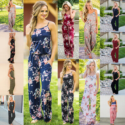 Womens Casual Backless Strap Siamese Trousers Party Jumpsuit Romper Floral (Floral Romper)