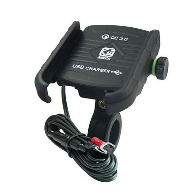Black Aluminum Motorcycle Handlebar Phone Holder USB Charger Quick Charge QC 3.0