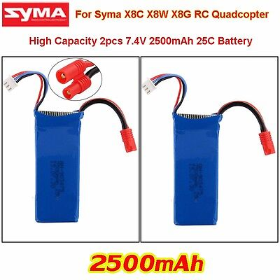 2x7.4V 2500mAh 25C Lipo Battery Spare Parts Fr Syma X8C X8W X8G Drone Quadcopter