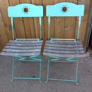 2 FOLDING IRON FRAME TICK WOOD SEAT CHAIRS-EACH $10