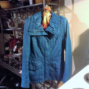 Genuine Leather Light Blue Jacket or Blazer, Size Small