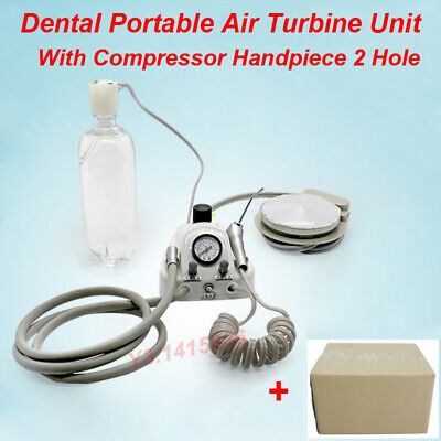 2 Hole Dental Lab Portable Air Turbine Unit Fit Compressor Handpiece With Syring