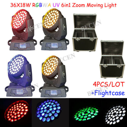 Zoom 36x18w 6in1 Led Moving Head Light Led Moving Dj Wash Light 4pcs +fly Case