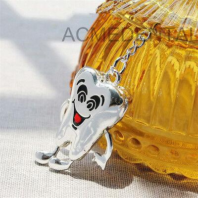 Dentist Gift Metal Teeth Tooth Key Chain Dental Culture Dentist Assistant Silver
