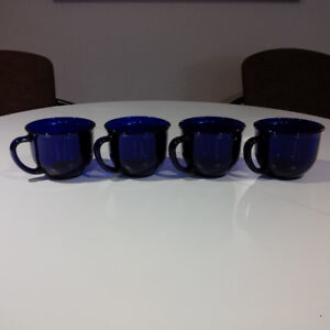 Cobalt Blue Glass Mugs x4