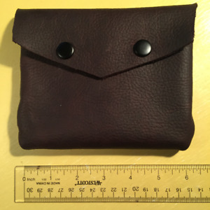 """Leather pouch 6'"""" by 5"""" with two rivets"""