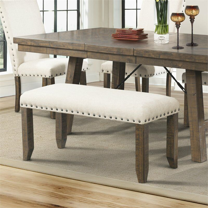 Picket House Furnishings Dex Bench in Smokey Walnut and Cream