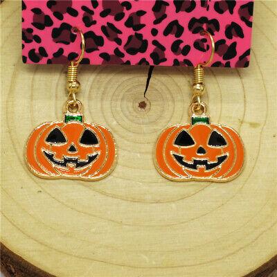 New Orange Enamel Cute Halloween Pumpkin Girl Betsey Johnson Women Stand Earring