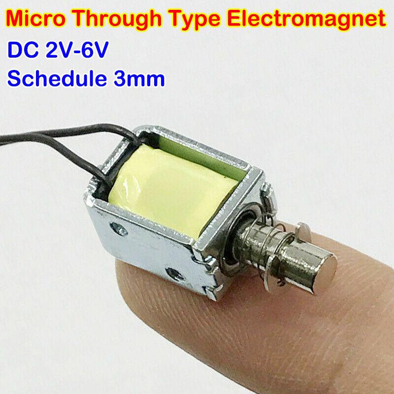 Micro Electromagnet Solenoid DC 3V-6V Spring Push Pull Through Type Stroke 3 MM