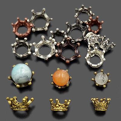 20pcs Solid Metal Crown Big Hole Bracelet Connector Charm Beads 6mm 8mm 10mm