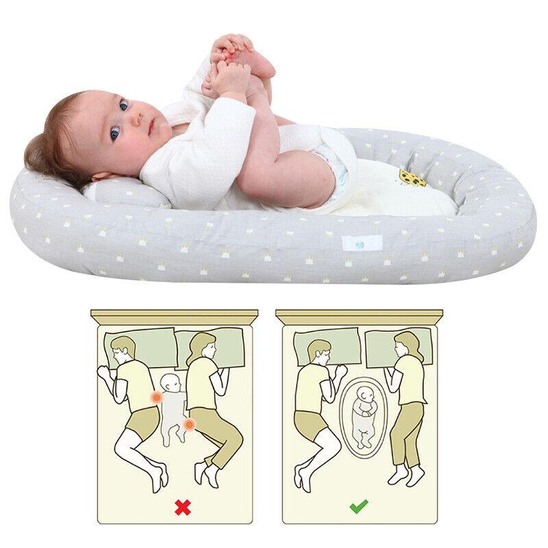 Baby Newborn Bassinet Bed Convenient Soft Lounger Cribs Sleep Nest With Pillow