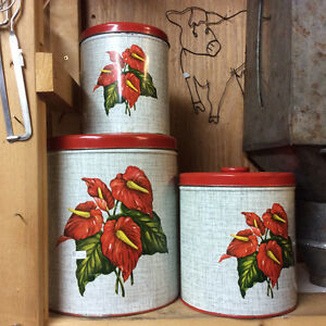 Mid Century Tropical Anthurium Flower 3-pce Canister Set