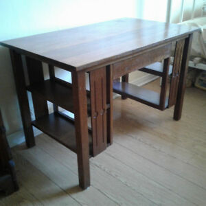 ARTS & CRAFTS MISSION STYLE OAK LIBRARY DESK