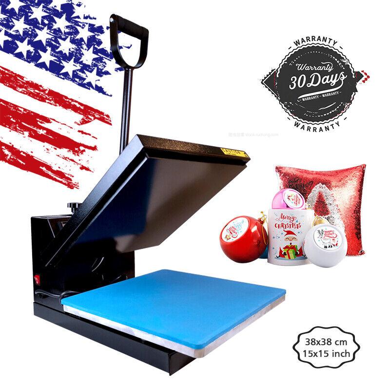 "15""x15"" Clamshell Heat Press Machine Sublimation Transfer Printer DIY T-Shirt US"