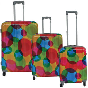 New 3 piece Polycarbonate luggage with Circle print finish