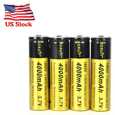 Boruit 4x 3.7V Li-ion 4000mAh 18650 Rechargeable Battery For Flashlight Headlamp