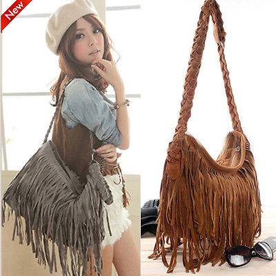 Women Ladies Cross Body Bag Tassel Suede Fringe Messenger Shoulder Handbag US (Tasseled Fringe)