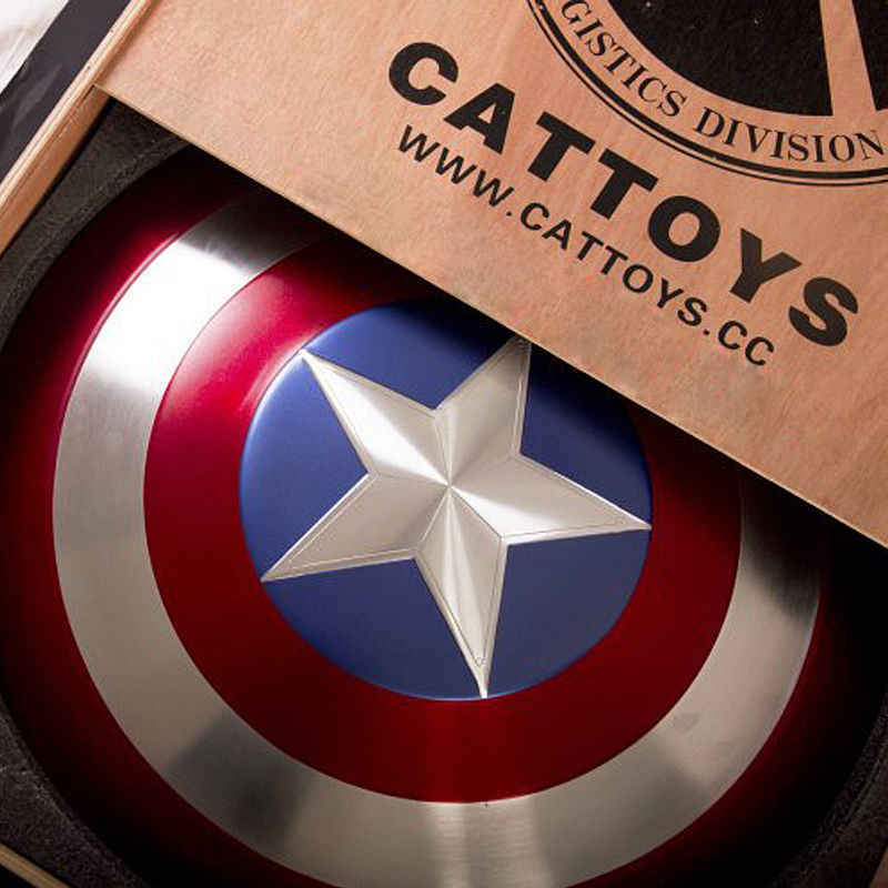 CATTOYZ 1:1 Avengers Captain America Shield Alloy Metal Version with Wooden Box