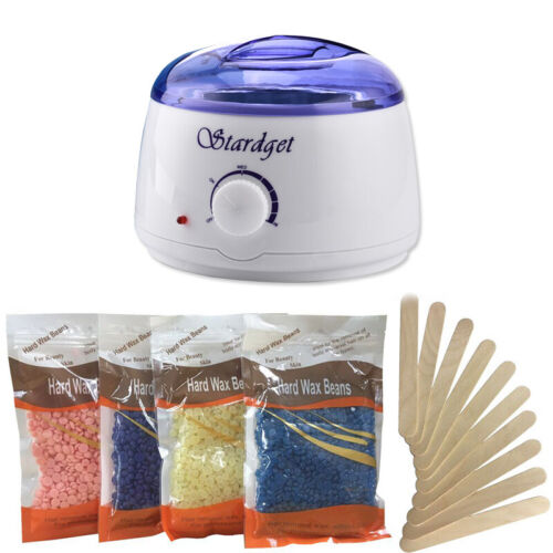 Hot Wax Warmer Hair Removal Waxing Kit Electric + 4 Bags Hard Wax Beans&10 Stick