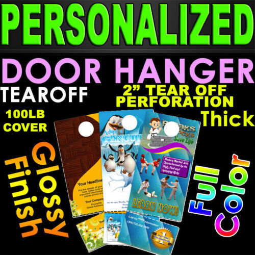 """5000 Door Hangers 100LB Cover Color 2 Sided 4.25""""x11"""" w/ 2"""" Tear Off Perforation"""