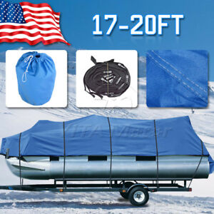 Trailerable Pontoon Boat Cover Waterproof 17-20 Ft Heavy Duty Fabric Beam 96