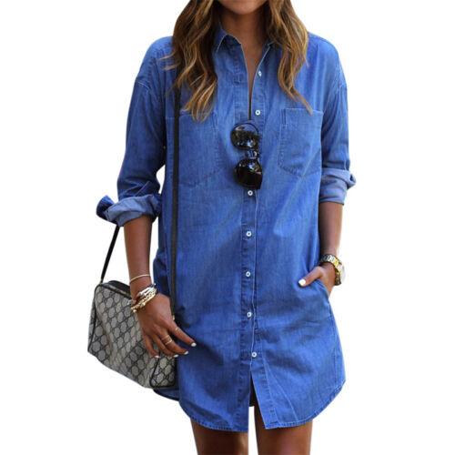 Damen Jeanskleid Hemdkleid Tunika Blusenkleid Strand Longshirt Denim Sommerkleid