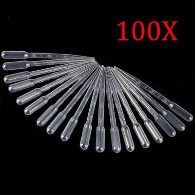 100pcs 3ml Transparent Plastic Disposable Pipet Droppers Transfer Pipettes