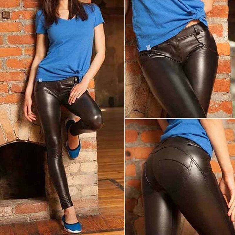 Women Sexy PU Leather Yoga Pants Hip Push Up Workout Stretch Leggings Trousers 19