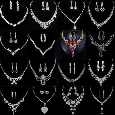 Chic Wedding Bridal Bride Rinestone Crystal Necklace Earrings Silver Jewelry Set Crystal Bridal Wedding Jewelry