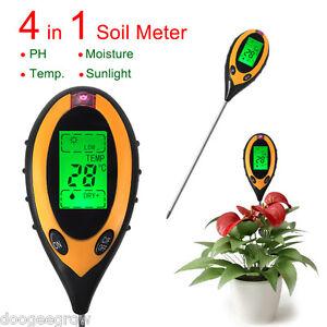 Pro 4 In 1 LCD Temperture Moisture Sunlight PH Garden Plants Soil Meter Tester