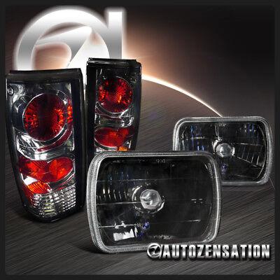 Chevy 82-93 S10 Blazer GMC 91-93 Sonoma Black 7X6 Headlights+Smoke Tail Lamps ()