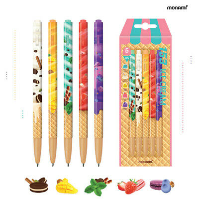 Monami 153 Ball Point Pen Ice Cream Edition 0.5mm 5 Colors Set Korean Made