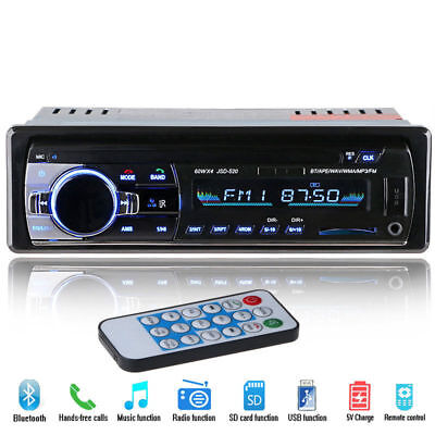 Bluetooth Auto Car Vehicle Player Usb Sd Aux In Fm Ipod Radio Stereo Mp3 1 Din
