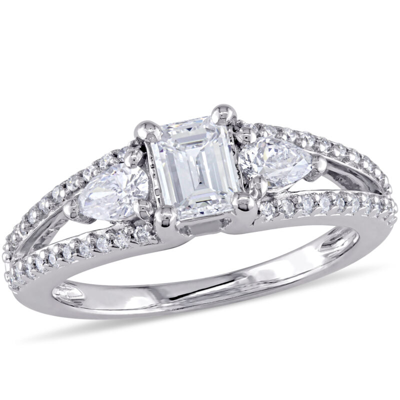 Amour 7/8 Ct Tw Diamond 3-stone Bridal Ring Set In 14k White Gold