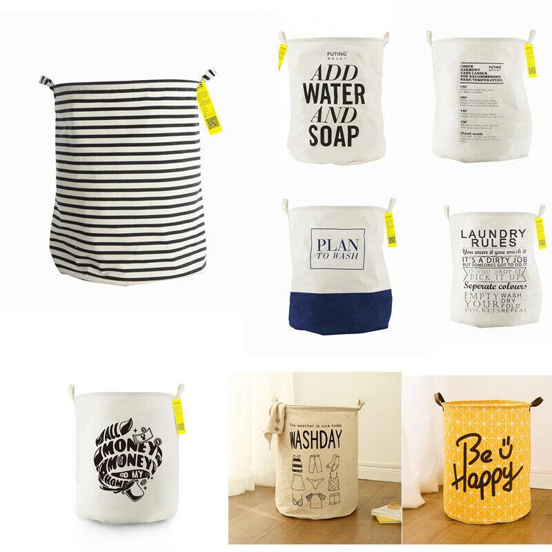 Large Waterproof Foldable Laundry Hamper Bucket Handles Clot