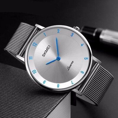 SKMEI Mens Womens Ultra Thin Minimalist Stainless Steel Mesh Band Wrist Watch (Band Mesh Wrist Watch)