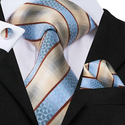 Brown Striped Woven Necktie - USA Blue Brown Pink Striped Mens Tie Necktie Silk Jacquard Woven Set Wedding