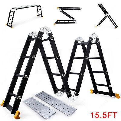 Black 15.5ft Aluminum Multi Purpose Ladder Extension Folding Telescoping