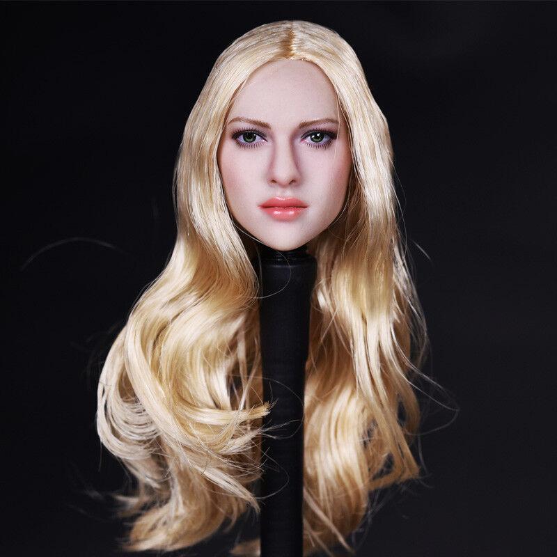 1//6 Scale 004 Pale Head Female Head Carved Black Straight Hair Head Fit PH Body