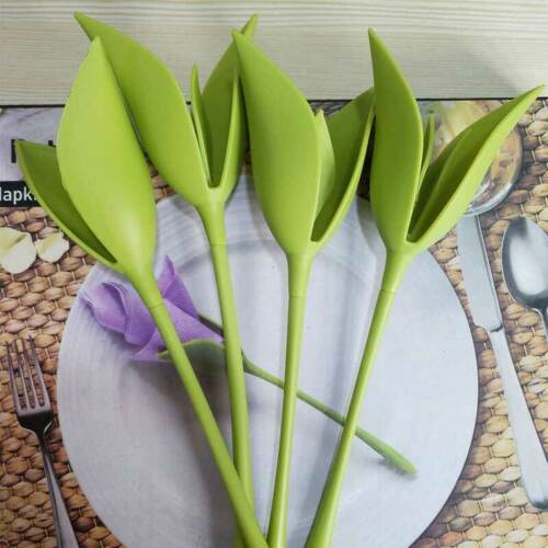 6PCS Bloom Napkin Holders Table Green Twist Flower Buds Serv