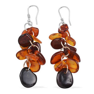 Baltic Multi Color Amber Sterling Silver Lever Back Earrings